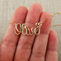 PINJEAS Custom Name Hawaiian Necklace handmade DIY Gold Silver Word Greeting stackable gift Wire Wrap Jewelry Mother's Day Gifts