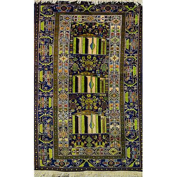 Oriental Turkmen-Style Pure Wool Rug,Tribal Blue/Green