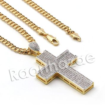 Lab diamond Micro Pave Jesus Cross Pendant w/ Miami Cuban Chain BR039