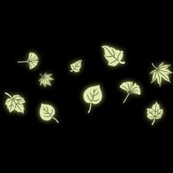 Fashion Luminous Floating Leaves Pattern Wall Sticker For Bedroom Decoration
