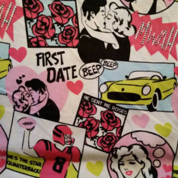First Date flannel fabric for quilting jock kiss flowers cotton quilt print quilters material sewing project BTY crafting sew by the yard