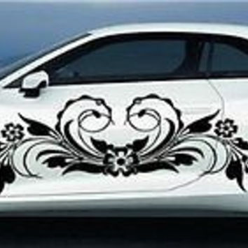 Flowers Car Vinyl Side 2 Graphics Decals Any Car Sticker 7774