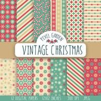 Vintage Christmas Digital Paper Pack, Snowflakes Scrapbooking Paper, Candy Cane Digital Clip Art. Retro Printable Paper. Red, Teal, Cream.