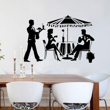 Wall Decals Interior Decor Art Cocktail Meals Girl Man Waiter Food Fashion Drinking Relax Vinyl Decal Sticker Kitchen Cafe Restaurant ML35