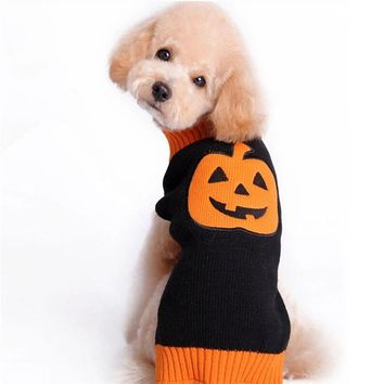 1Pcs Autumn Winter Pet Cat Dog Sweater Warm Knitting Crochet Pumpkin Halloween Clothes Puppy Warm Clothes Apparel