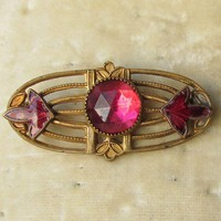 Antique Victorian Edwardian Art Nouveau Pink Rhinestone & Enamel Pin in Original Box