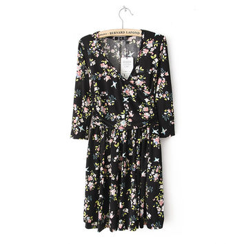 Summer Knit Floral V-neck Skinny Dress One Piece Dress [4917896260]