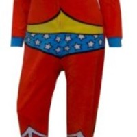 DC Comics Wonder Woman Fleece Junior Cut Onesuit Footie Pajama for women (Small)