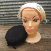 50s Vintage Pillbox and Skullcap Hats / Gertrude Menczer/ Net / Wool / Millinery / Veil Hat / Silk