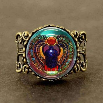 VINTAGE Scarab Glass Tile Ring Egyptian jewelry steampunk
