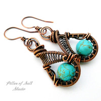 Turquoise Magnesite copper woven wire earrings