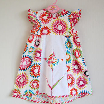 Patchwork Dress, Flower Girl Dress, Colourful Summer Dress, Toddler Dress with Short Sleeves, Modern Girls Dress.
