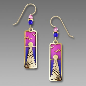 Adajio Earrings - Gold-Plated Ocean Sunset with Pink and Blue Backer