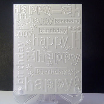 Embossed Happy Birthday Set of 6 Cards Two Designs in White Embossed Cards Birthday Card Sets Birthday