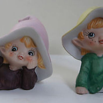 Homco Porcelain Pixie Elf Figurine Set Hand Painted Purple & Green Cuties
