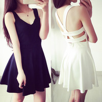 White/Black Summer Sexy V neck Dress SP152534