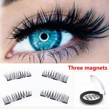 1Pair Natural 3d Mink Lashes False Eyelashes  Extension, Faux Eye Lashes Magnetic