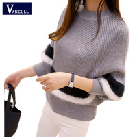 2016 Spring models New Hot sell Women style fashion long-sleeved Casual striped hedging Warm Bat sleeve Casual Sweaters Knit