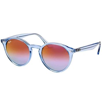 Ray-Ban RB 2180 6278A9 Shiny Light Blue Plastic Round Sunglasses Blue Violet