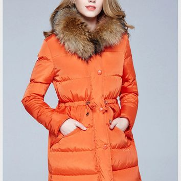 2017 New Fashion Winter Coat Fur Collar White Duck Down Cool Jacket Woman Hipster Outwear Casual Warm Coat