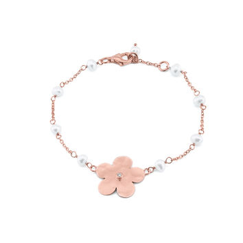Hammered Rhodium Plated Sterling Silver Flower of Life & Pearls Chain Bracelet by Fronay, 6.5""