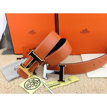 Auth HERMES Reversible double H Gold/Silver Buckle Orange Leather Men's Belt 110