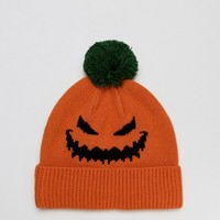 ASOS Halloween Beanie With Pumpkin Design at asos.com