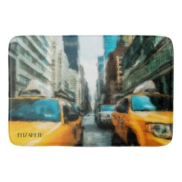 Yellow Taxi Cabs After Rain In New York City Bath Mat
