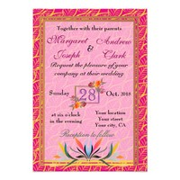 Personalized decent pink floral golden wedding card