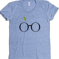 Harry Potter Font Glasses-Female Athletic Blue T-Shirt