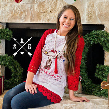 Merry Christmoose Red Hat Raglan