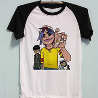Gorillaz Shirt Punk Rock Tshirt Short Sleeve Unisex Baseball Shirts Raglan Jersey TShirt Black White Tee Men Women S M L XL
