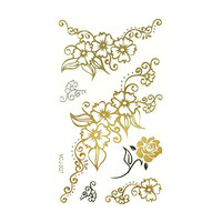 Wrapables Small Metallic Gold and Silver Temporary Tattoo Stickers, Romantic