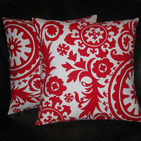 """Decorative Pillow Covers 20 inch SUZANI Pillows lipstick red and white 20"""" contemporary Accent Pillows"""