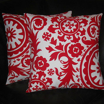 "Decorative Pillow Covers 20 inch SUZANI Pillows lipstick red and white 20"" contemporary Accent Pillows"