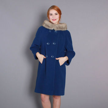 1960s Royal Blue Wool COAT with FUR Collar / Vintage 60s Coat with Wide Mink Fur Collar, s