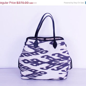 ON SALE-30% OFF Silk Ikat Bag with Black and White Colors - Ikat Tote Bag Silk ikat Shoulder Beach Bag