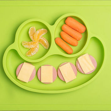 Happy Mat - One-Piece Silicone Placemat + Plate All-in-one Placemat for kids suctions to surface non-slip mat BPA Free