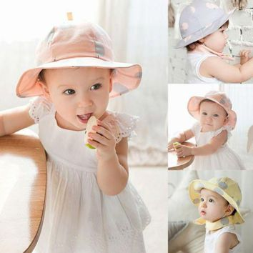 PEAP78W Cute Toddler Sun Cap Polka Dot Summer Outdoor Baby Girl Sun Beach Bucket Hat