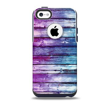 The Pink & Blue Dyed Wood Skin for the iPhone 5c OtterBox Commuter Case