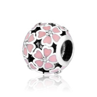 Original 100% 925 Sterling Silver Beads Pink Enamel Rose Flower Charm Fits Pandora Charms Bracelet DIY Jewelry Factory Price