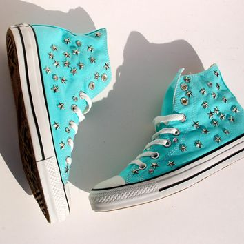 aqua blue converse all star sneakers with star and rhinestone studs studded converse