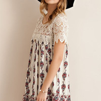Short Sleeve Lace Yoke Dress
