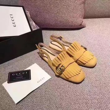 GUCCI Women Trending Fashion Tassels Casual Shoes Flat Sandal Slipper Heels Yellow