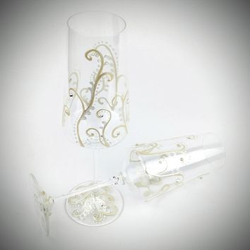 2 Hand Painted Gold Champagne Flutes, wedding champagne glasses, anniversary glasses, wedding flutes, toasting flutes, Swarovski crystals