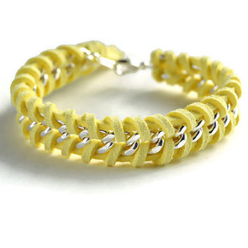 Light Yellow Woven Silver Chain Bracelet, Light Yellow Suede Woven Through a Single Chain, Yellow Chain Bracelet, Chevron Chain Bracelet