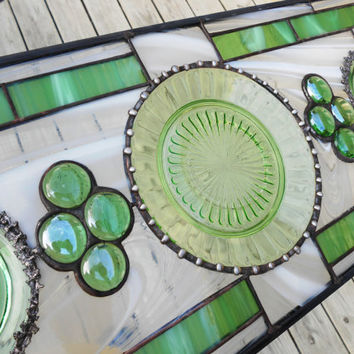 Stained Glass Transom Window, Antique Depression Glass Stained Glass Panel, Aurora Pattern in Green Glass