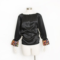 Vintage 1960s Blouse - Black satin Butterfly Velvet Embroidered Top Gisella Heineman 60s - XS Extra Small