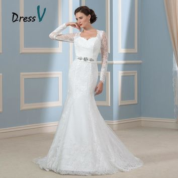 Gorgeous Long Sleeves Mermaid Wedding Dresses 2017 Lace Applique Keyhole Back Vintage Bridal Gowns Plus Size Brand Bride Dress