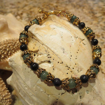 Green & Black Semi Precious Antique Vintage Gold look Bracelet Women Girls Jewelry Green Aventurine Black Stone Gems